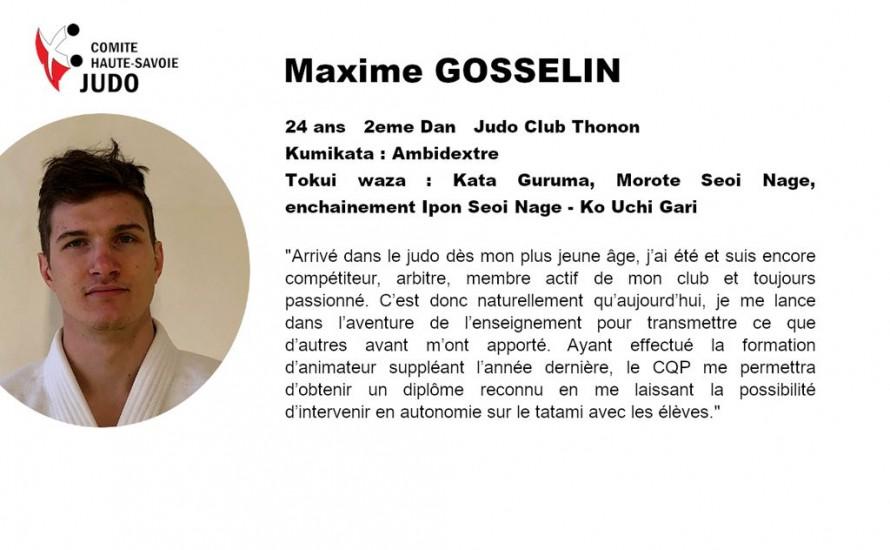 Présentations des candidats au CQP. Maxime GOSSELIN